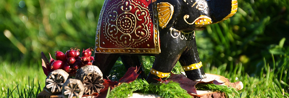 Hand Painted Indian Elephant Tealight Holder - Black