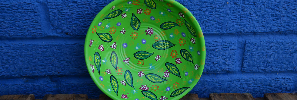 Painted Bowl - Green Leaves