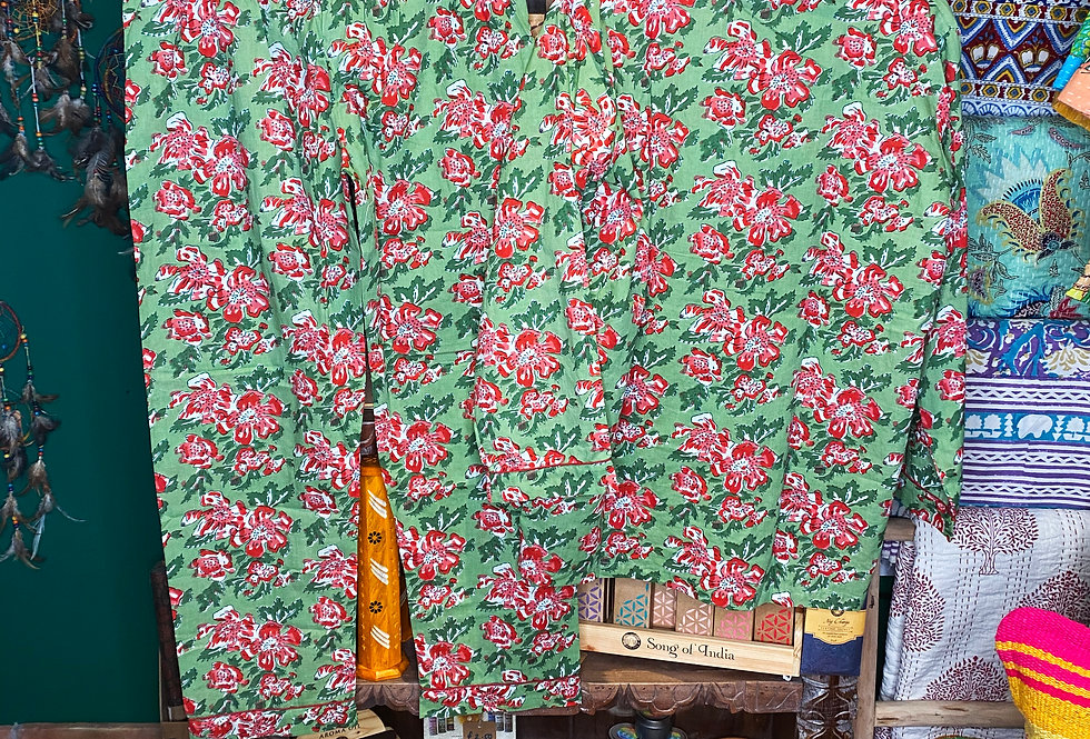 Handmade Indian Pjs- Green with Red Flowers
