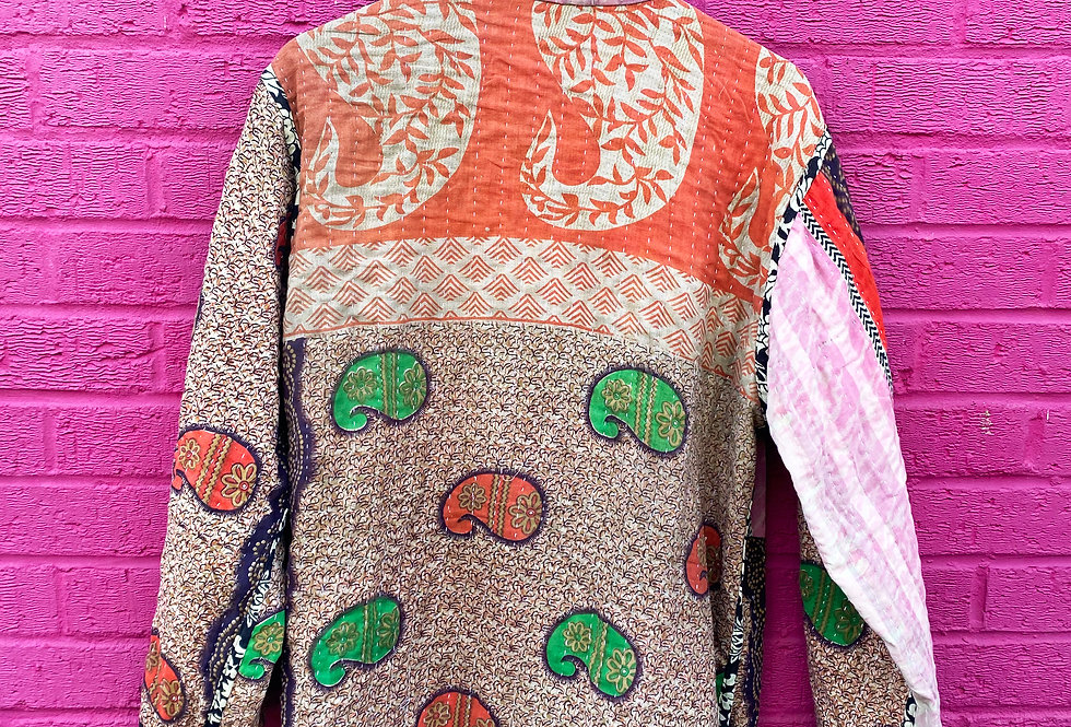 Handmade Reversible Kantha Jacket - Purple and Pink