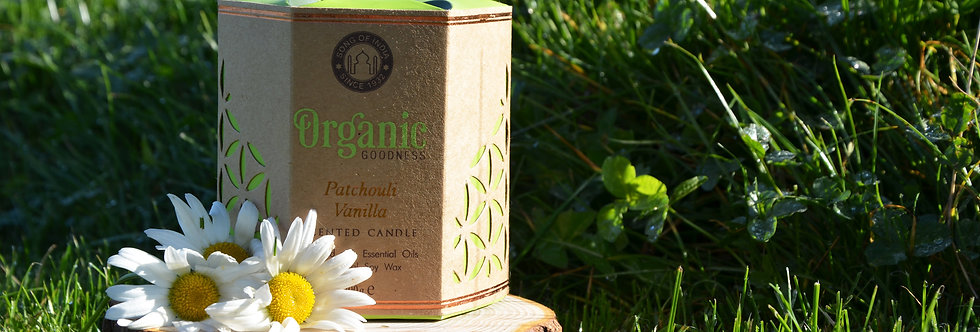 Soy candle Organic Goodness, Patchouli Vanilla, in glass jar