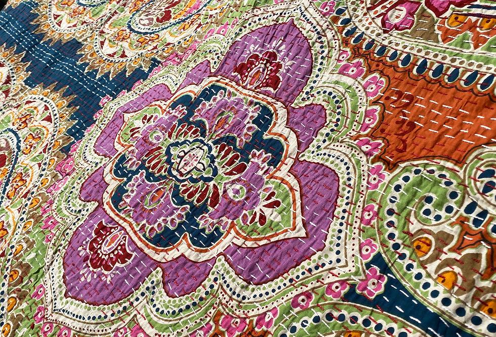 Handmade Indian Kantha Blanket - Red Paisley