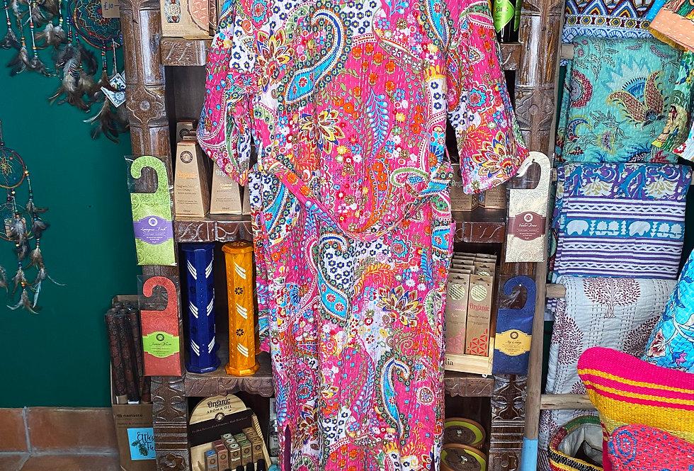 Handmade Kantha Robe - Pink Paisley