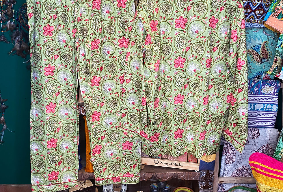 Handmade Indian Pjs - Green with Pink Flowers