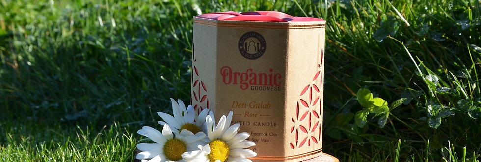 Soy candle Organic Goodness, Desi Gulab Rose, in glass jar