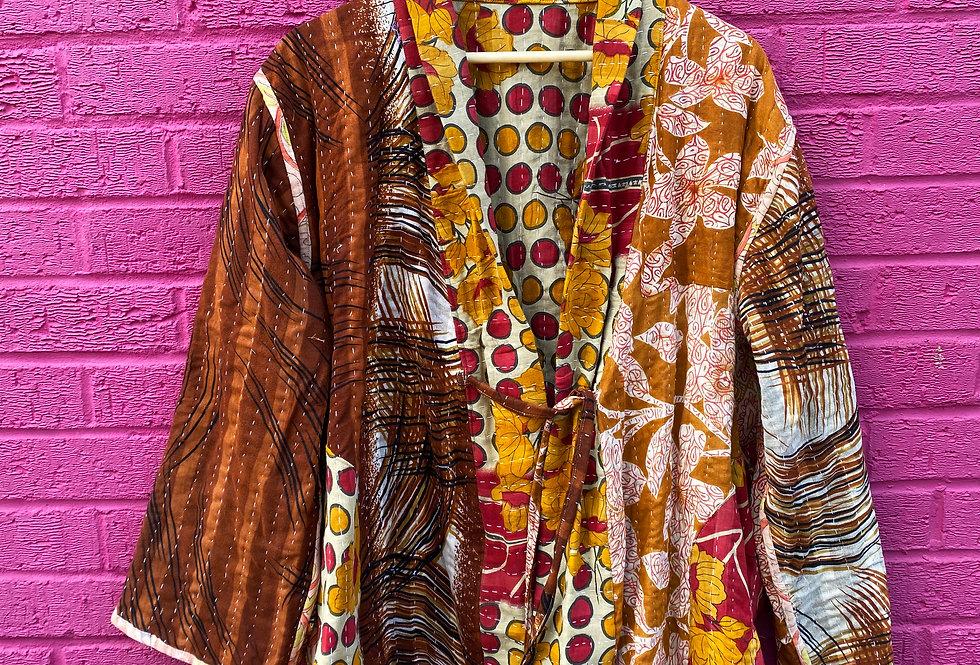 Handmade Reversible Kantha Jacket - Orange/Red