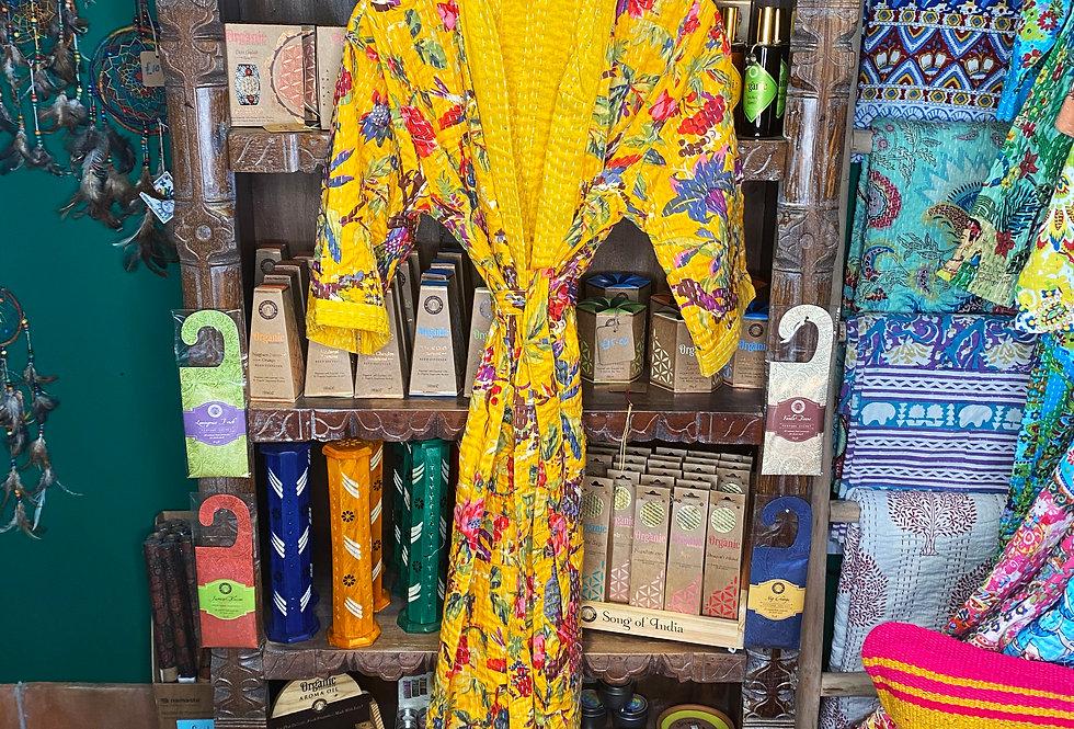 Handmade Kantha Robe - Yellow