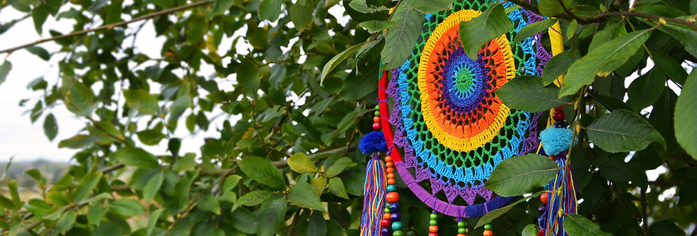 Dreamcatcher, rainbow crochet with pompoms