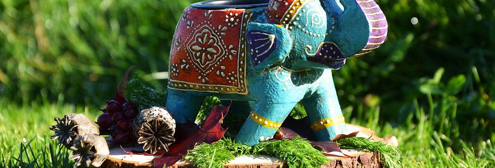 Hand Painted Indian Elephant Tealight Holder - Turquoise