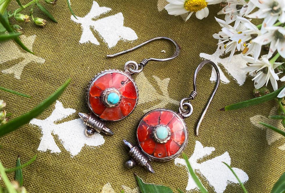 Small Tibetan Earrings - Coral