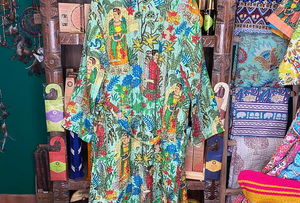 Handmade Kantha Robe - Turquoise