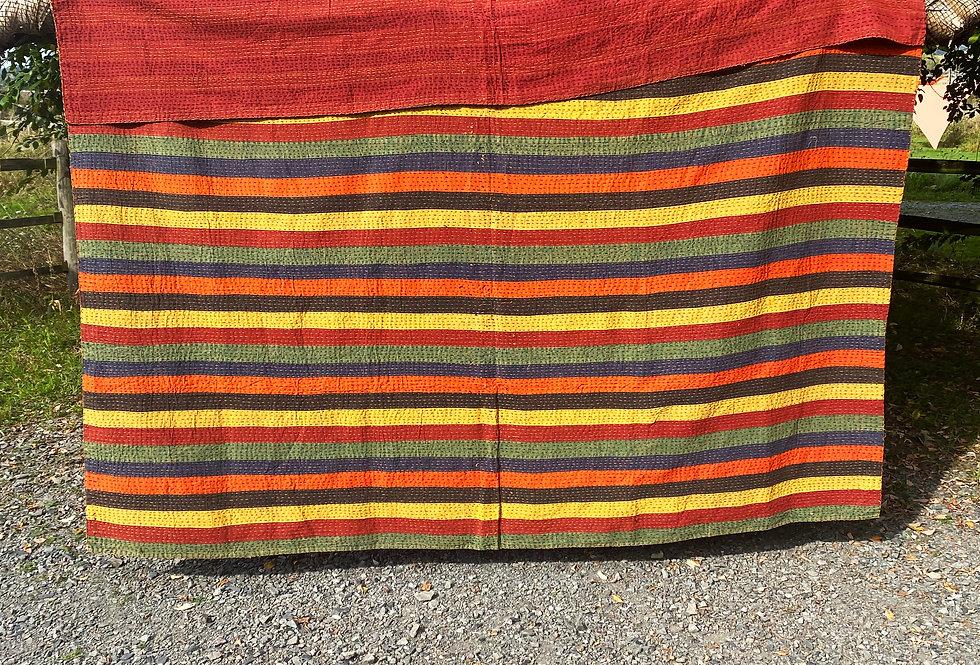 Handmade Indian Kantha Blanket - Rainbow Stripe