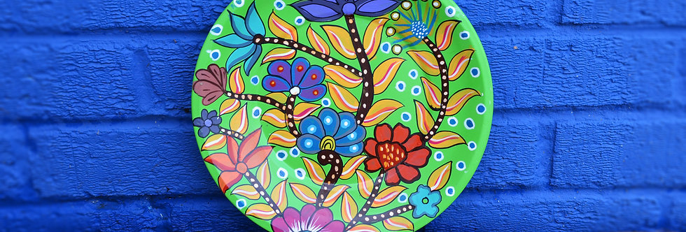 Painted Plates - Green with flowers