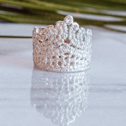 Reina lace ring in sterling silver