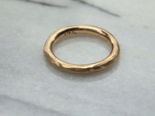 Men's heavy rustic 14k yellow gold wedding band