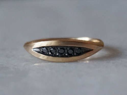 Palma pavé black diamond 14k gold ring