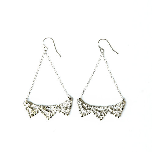 Triple Pyramid lace earrings in sterling silver