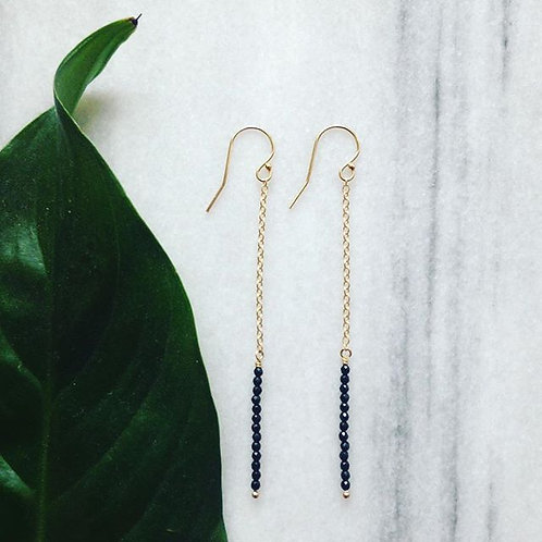 Minimal black onyx and gold filled long earrings