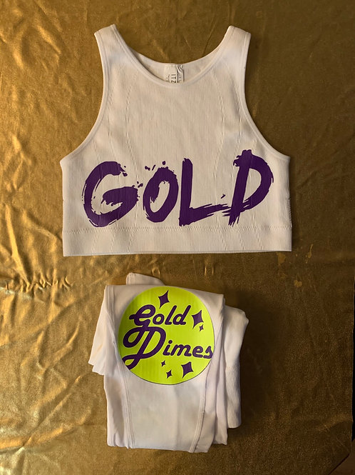 💜💛💜 CUSTOM GOLDDIMES TWO PIECE TOP & SPORTS LEGGINGS