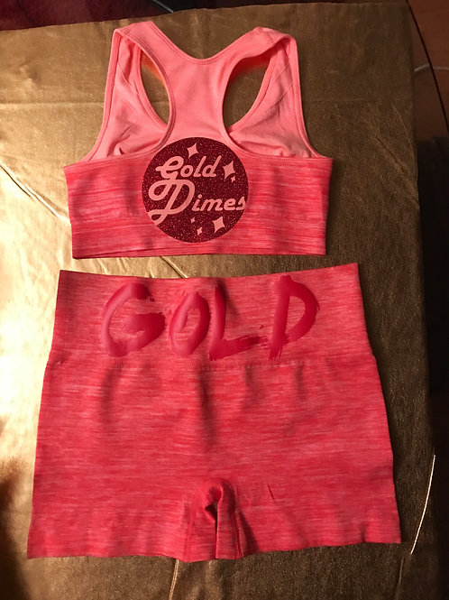 CORAL/PINK GOLDDIMES SPORTS BRA & CORAL ACTIVE,HEATHER SHORTS!!!