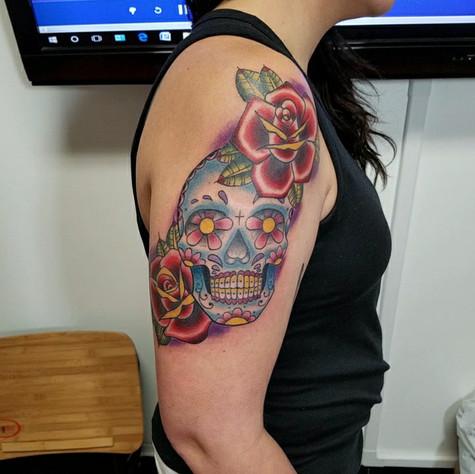Sugar Skull Tattoo by Eric Frisone - Hooper Iron Works