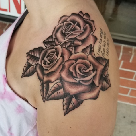 Shoulder Rose Tattoo by Eric Frisone - Hooper Iron Works