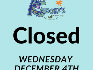 Closed Wednesday 4th December 2019