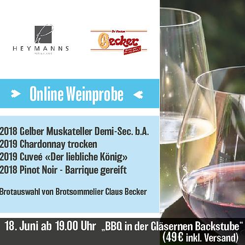 """Online Weinprobe 18.Juni """" On tour in der Gläsernen Backstube"""""""