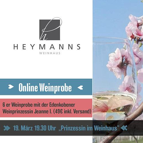 """Online Weinprobe 19. März """"Prinzessin im Weinhaus"""""""