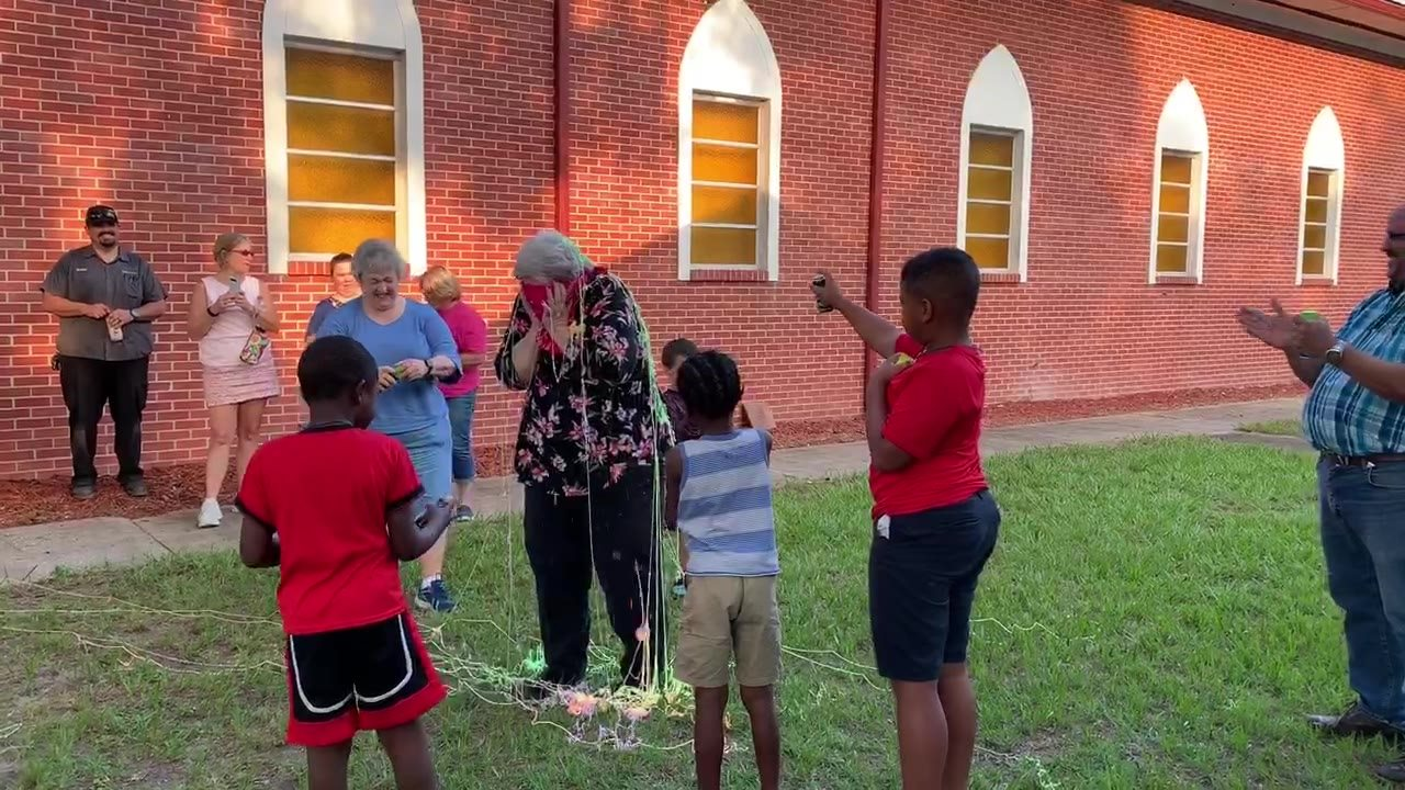 We collected school supplies this week for Glen Springs Elementary. We did a contest between the boys and girls. The boys won so Ms. Emelie got sprayed with silly string 😂