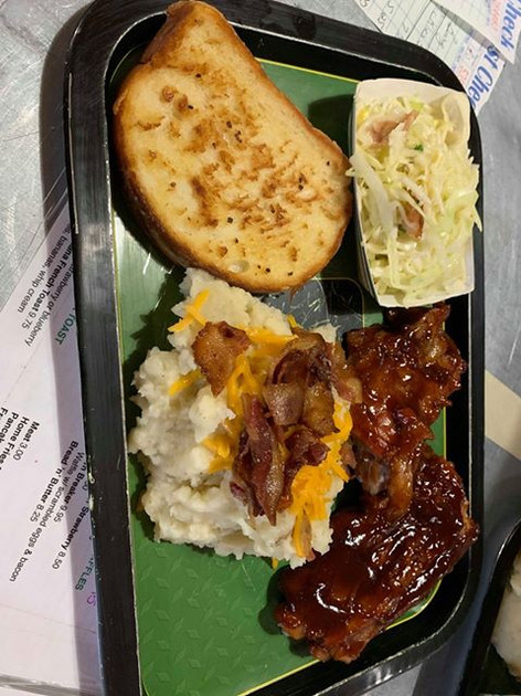 BBQ Ribs w/ Loaded Mash, Garlic Bread, a