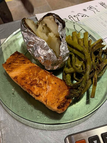 Baked Salmon with Baked Potato and Aspar