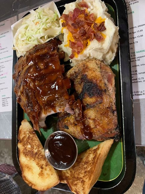 BBQ Ribs, Chicken, Loaded Mash, Coleslaw