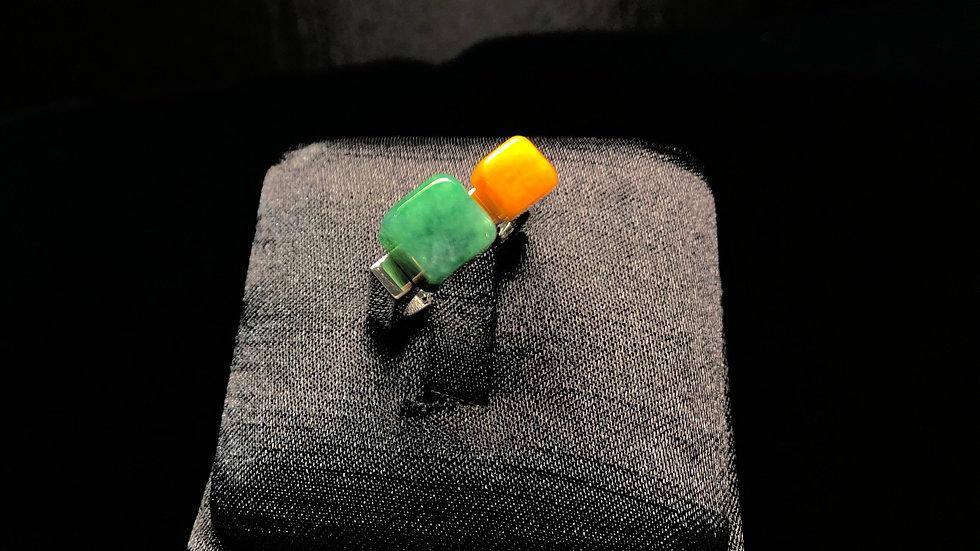 Yellow Green Jadeite Ring