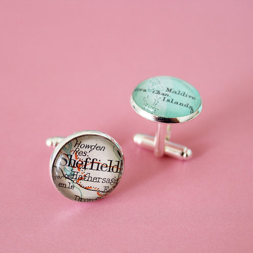 Personalised Travel Map: Cuff Links