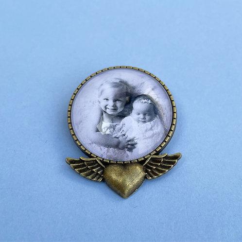Personalised Memory Charm: Large Bronze Love Heart & Wings Brooch
