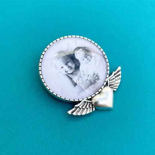 Personalised Memory Charm: Large Silver Love Heart & Wings Brooch