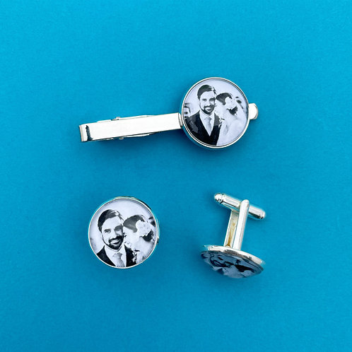 Personalised Memory Charm: Cuff Link & Tie Clip Set