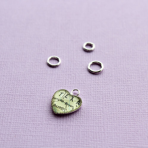 Personalised Travel Map: Miniature Heart Charm