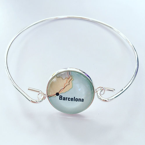 Personalised Travel Map: Silver Charm Bangle