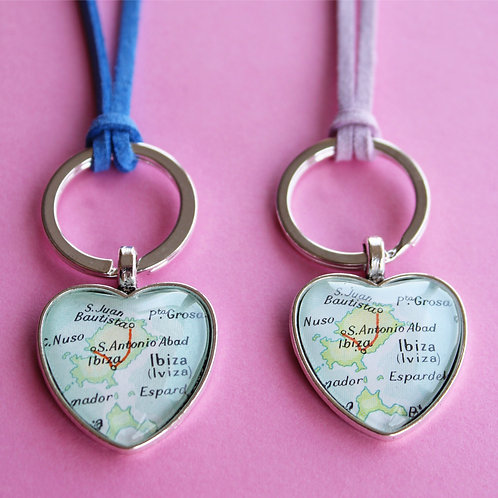 Personalised Travel Map: His & Hers Love Heart Keychains
