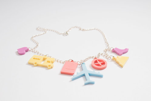 Travel: Laser Cut Perspex Travel Charm Necklace