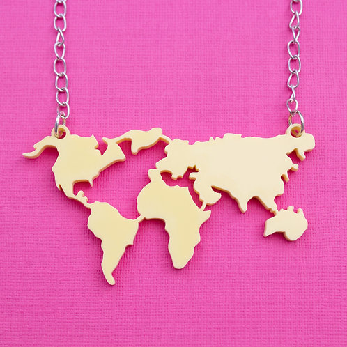 Laser Cut Perspex World Map Necklace