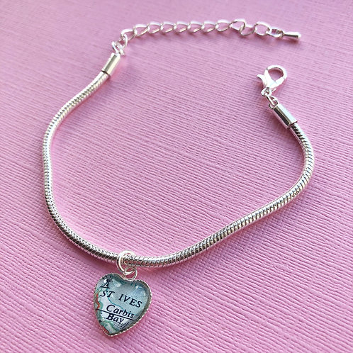 Personalised Travel Map: Silver Plated Heart Charm Bracelet