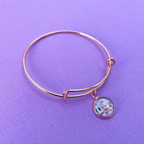 Personalised Memory Charm: Rose Gold Charm Bangle