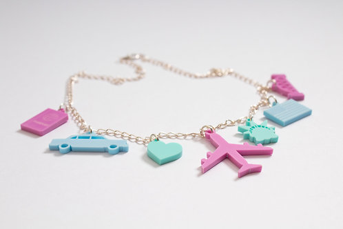 America: Laser Cut Perspex Travel Charm Necklace