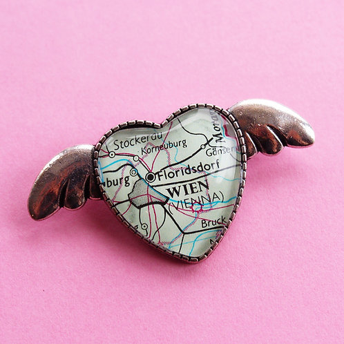 Personalised Travel Map: Love Heart & Wings Brooch