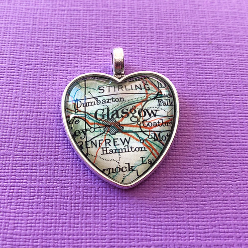 Personalised Travel Map: Love Heart Charm