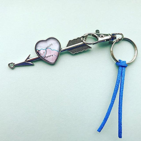 Personalised Travel Map: Arrow Heart Keychain