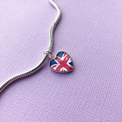 Personalised Travel Flag: Silver Plated Heart Charm Bracelet